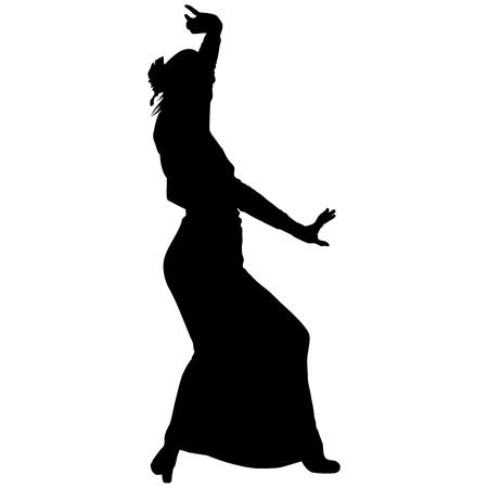 One black silhouette of female flamenco dancer Illustration