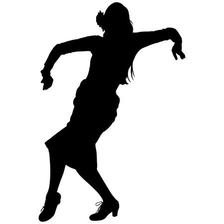 One black silhouette of female flamenco dancer on the white background for your design Illustration