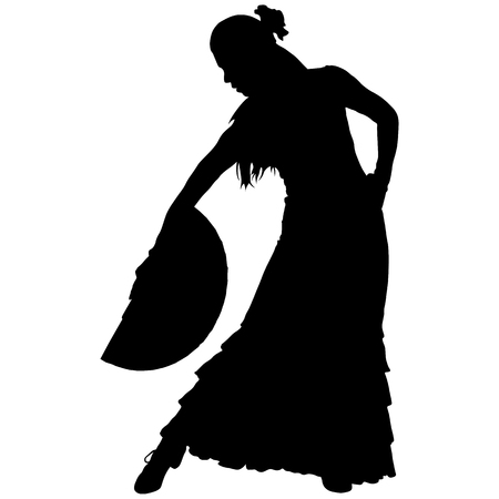 One black silhouette of female flamenco dancer.