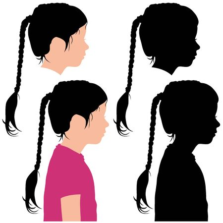 silhouette of a child in profile on a white background for your design Illustration
