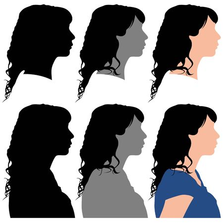 silhouette of a woman in profile on a white background for your design