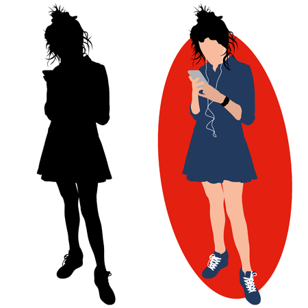 Girl with a phone and a headphones. Illustration
