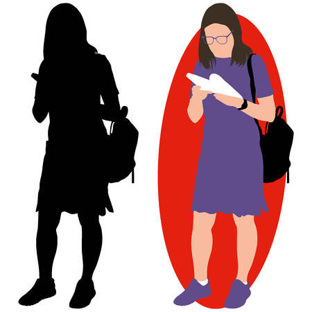 Girl with a book and a backpack. Illustration