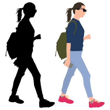 Girl with a phone and a backpack.