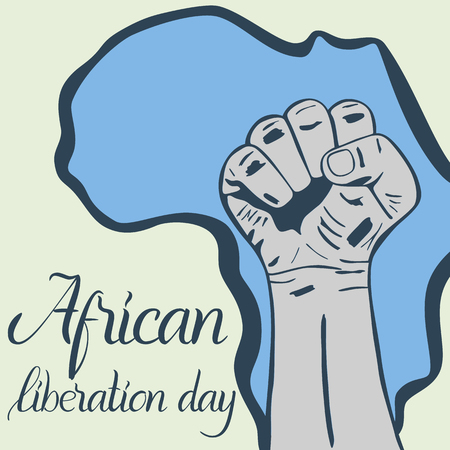Inscription African liberation day, hands clenched into fist and map of the Africa  イラスト・ベクター素材