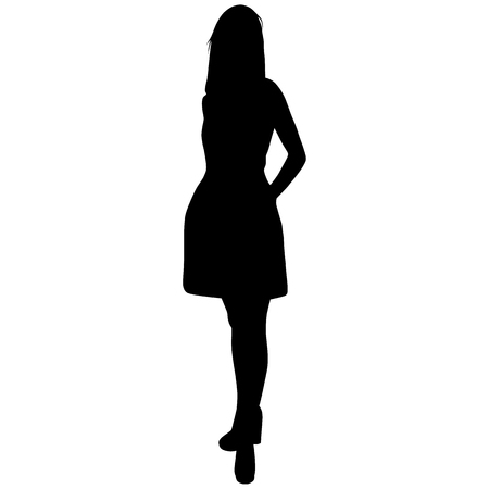 Silhouette of standing woman in short dress on white background