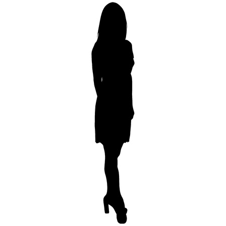 silhouette of a sexy woman with long legs in a short dress