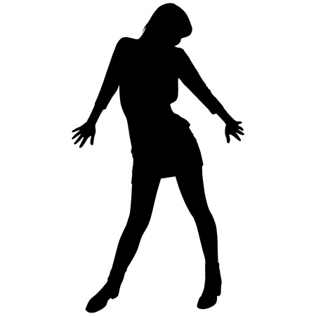 silhouette of a woman in a short dress 向量圖像