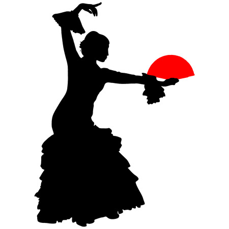 flamenco dancer with a red fan on a white background
