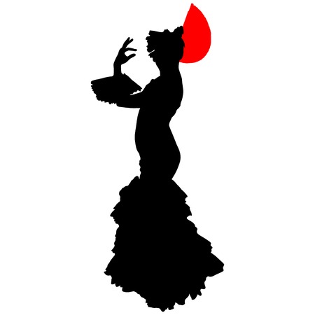 flamenco dancer with a red fan