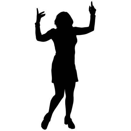 Black silhouette of a dancing woman Illustration