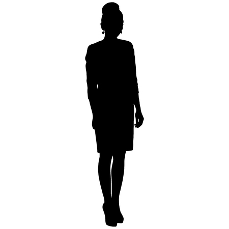 silhoutte of standing woman in short dress Vectores