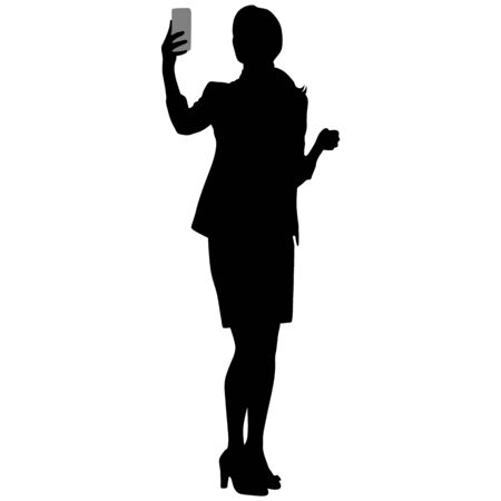 slim tall girl in short skirt and jacket makes selfie with smartphone