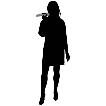 silhouette of girl in short dress with microphone Çizim