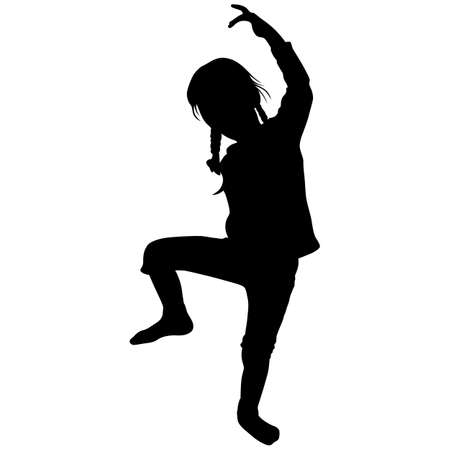 girl with two pigtails stands on one leg with her hand raised up