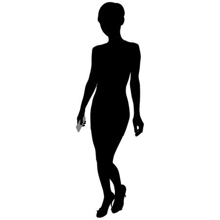silhouette of a slender girl with a phone in hand