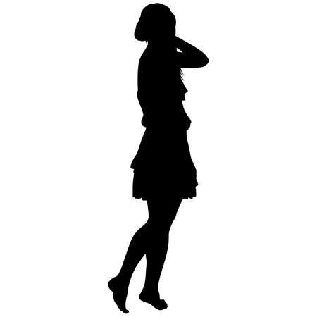 silhouette of a slender girl in a dress barefoot