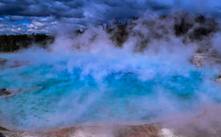 Yellowstone national park geyser 스톡 콘텐츠