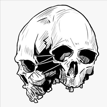 vector illustration of a skull for tattoo design, t-shirt design, symbol design, logo design and other design requirements.