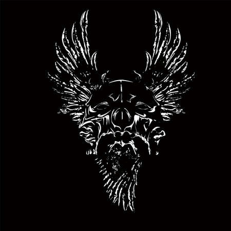 vector illustration of a skull for tattoo design, t-shirt design, symbol design, logo design and other design requirements.