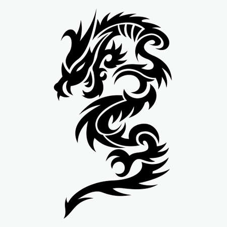 dragon vector illustration for tattoo designs,  symbols and other designs Banque d'images - 115111769