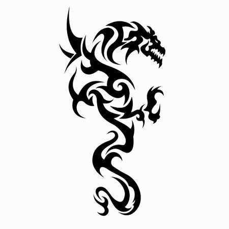 dragon vector illustration for tattoo designs,  symbols and other designs Foto de archivo - 115506061