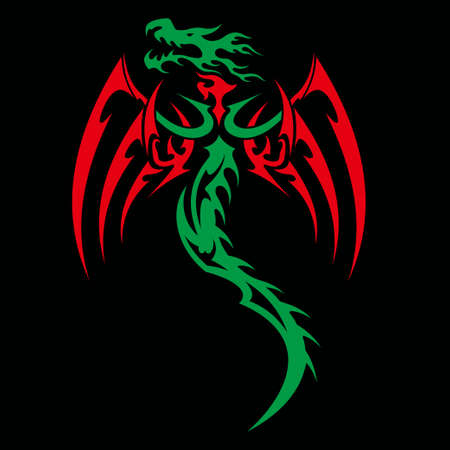 dragon vector illustration for tattoo designs,symbols and other designs 矢量图像