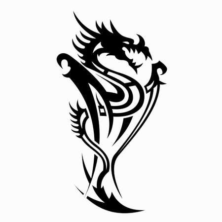 dragon vector illustration for tattoo designs, symbols and other designs Vector Illustratie