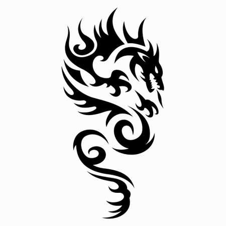 Ilustración de vector de dragón para diseños de tatuajes, símbolos y otros diseños