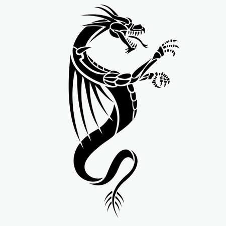 tatuaje de vector de dragón