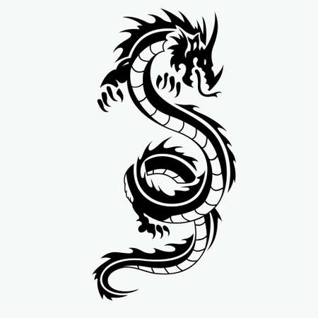dragon vector illustration for tattoo design and other design