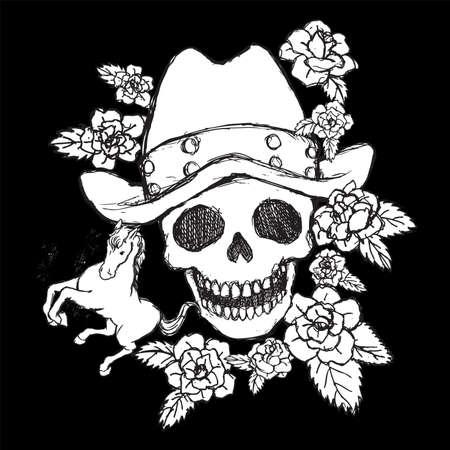 Skull vector for tattoo designs, t-shirt designs, logo designs, icon designs. Stock Photo