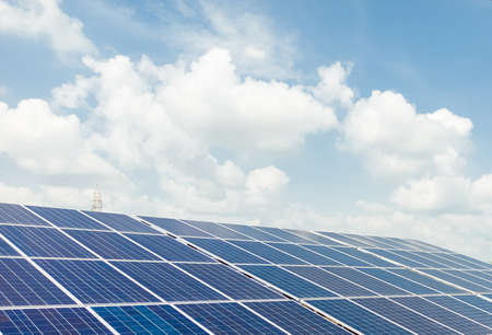 Installed Photovoltaic solar panels / modules at solar power station. Clear sky sunny day clear closeup view. Reklamní fotografie
