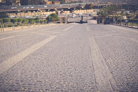 Ladrillo piedra carretera de fondo Foto de archivo
