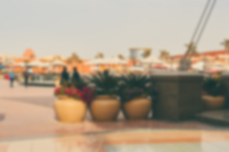 blurred background of open air shopping mall