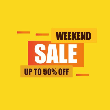 weekend sale background template vector, orange yellow promotion banner, up to 50% off