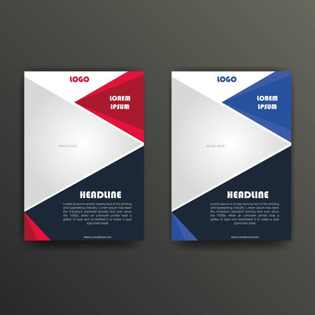 vector business flyer design in red and blue option colors Ilustracja