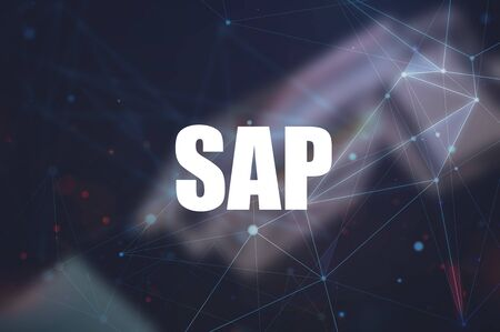 SAP word on blurring background, Business process automation software. ERP enterprise resources planning system concept