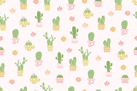 Cute cactus pattern background. Illustration