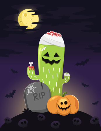 Happy Halloween illustration.Zombie cactus and friends look happy in scary night.