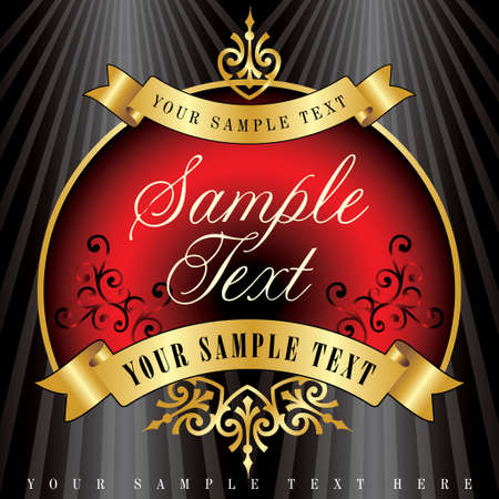 vector sample: vector label in red and golden colors, fully editable with sample text in separate layer