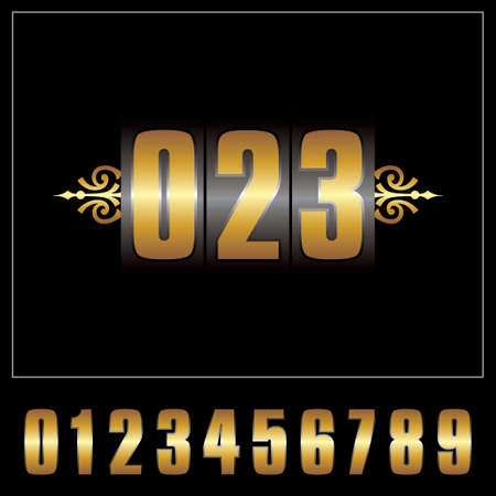 Vector of icon, digital number set on isolated background Vector