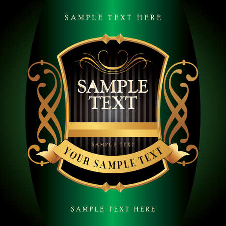 oriental green with gold background  with sample text Illustration