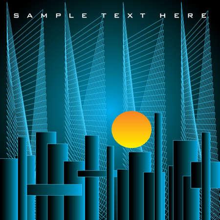 financial district: skyline  in sunset-illustration
