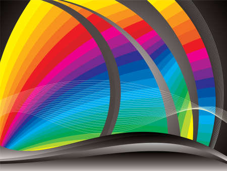 range of motion: Vector - Abstract Colorful Waves on Black Background Illustration