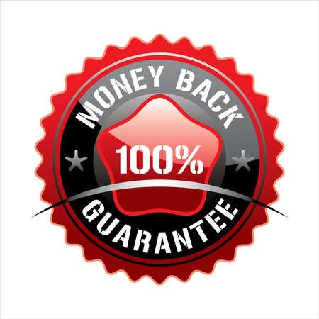 hundred: Red hundred percent money back badge  on black background