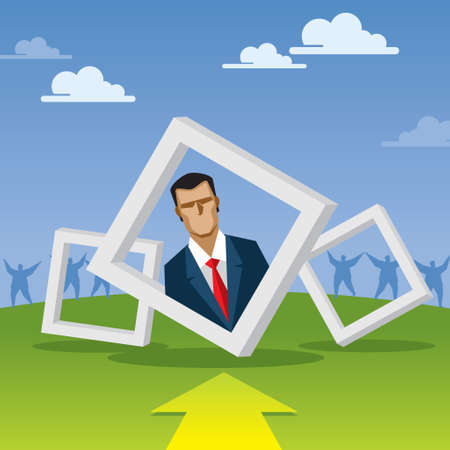 businessman in frame with arrow Vector