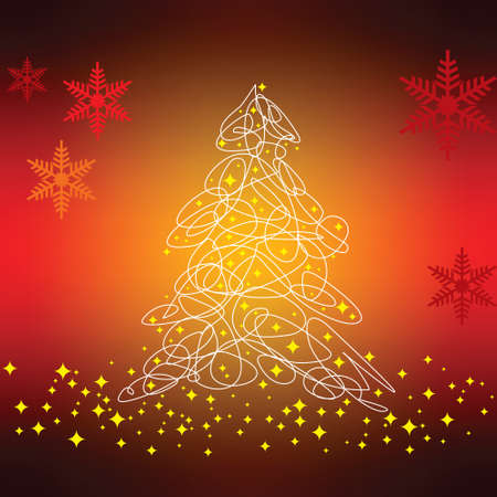 Christmas tree with defocused lights. Red background Vector