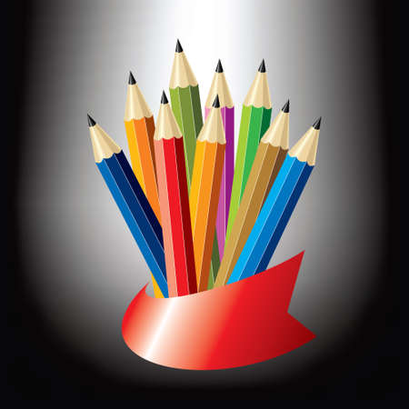 Color pencils in support - Illustration Vector