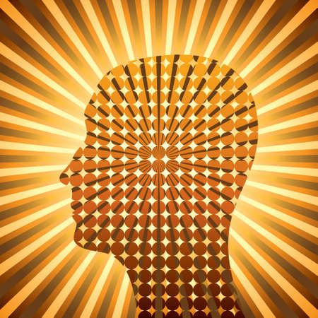 head silhouette with star burst background - Illustration Vector
